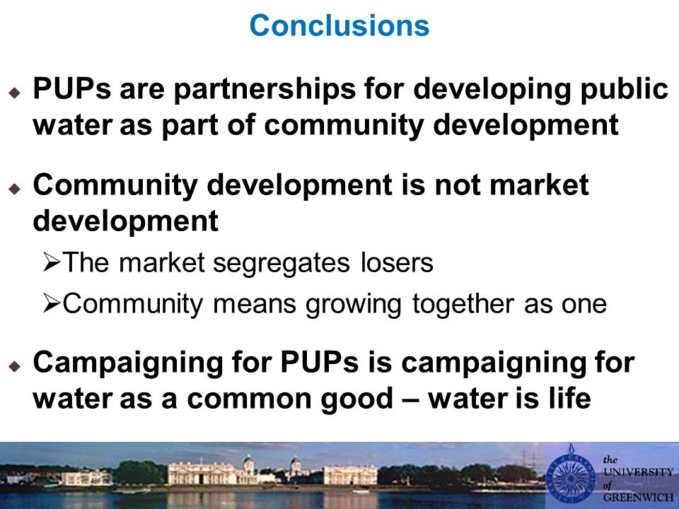 Conclusions  PUPs are partnerships for developing public water as part of community development  Community development is not market development  The market segregates losers  Community means growing together as one  Campaigning for PUPs is campaigning for water as a common good – water is life
