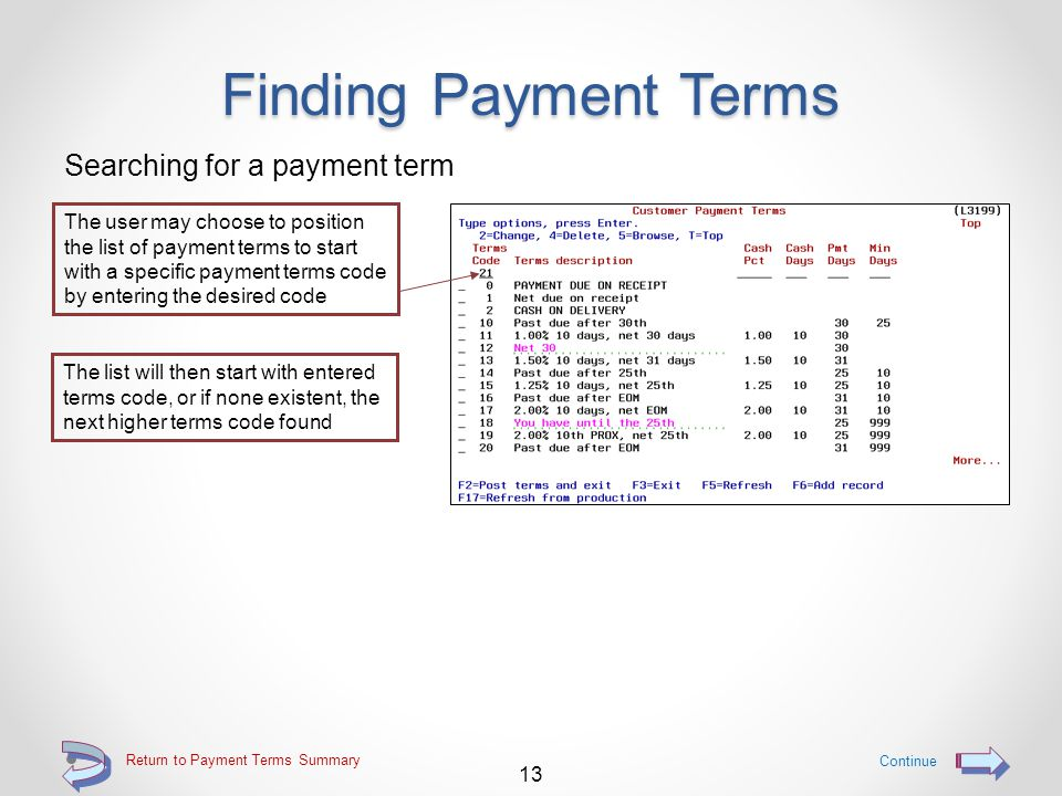 Finding Payment Terms Entry capable line for sub-setting the list to include only desired terms codes, such as o Position the list to start with a particular terms code o List only terms codes whose cash discount percentages are a specific percentage o List only terms codes that have a specific number of cash discount days o List only terms codes that have a specific number of payment days o List only terms codes that have a specific number for minimum days Multiple selection fields may be used at the same time to further limit the displayed list of qualifying terms codes 12