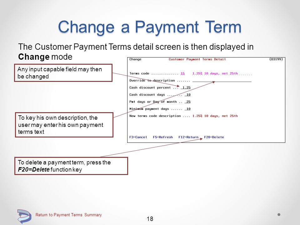 Change a Payment Term Use the 2=Change option on the Work with Customer Payment Terms Key the 2=Change option adjacent to the payment terms code of the payment terms record to be changed Continue 17 Return to Payment Terms Summary