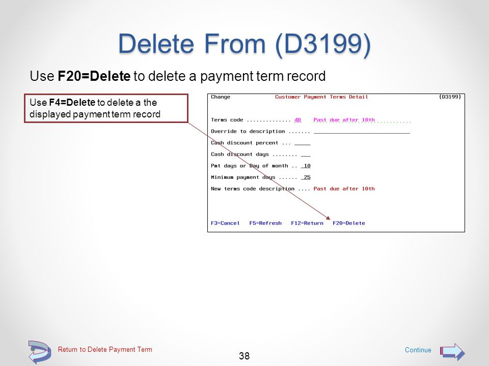 Delete a Payment Term Deleted payment terms are displayed in RED The deleted payment term record is displayed in RED 37 Return to Delete Payment Term Press the F5=Refresh function key to cause deleted payment term records to be removed from the displayed list