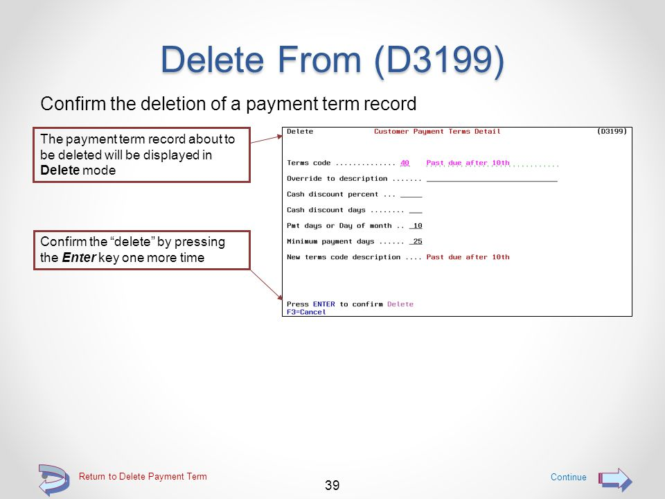 Delete From (D3199) Use F20=Delete to delete a payment term record Use F4=Delete to delete a the displayed payment term record Continue 38 Return to Delete Payment Term