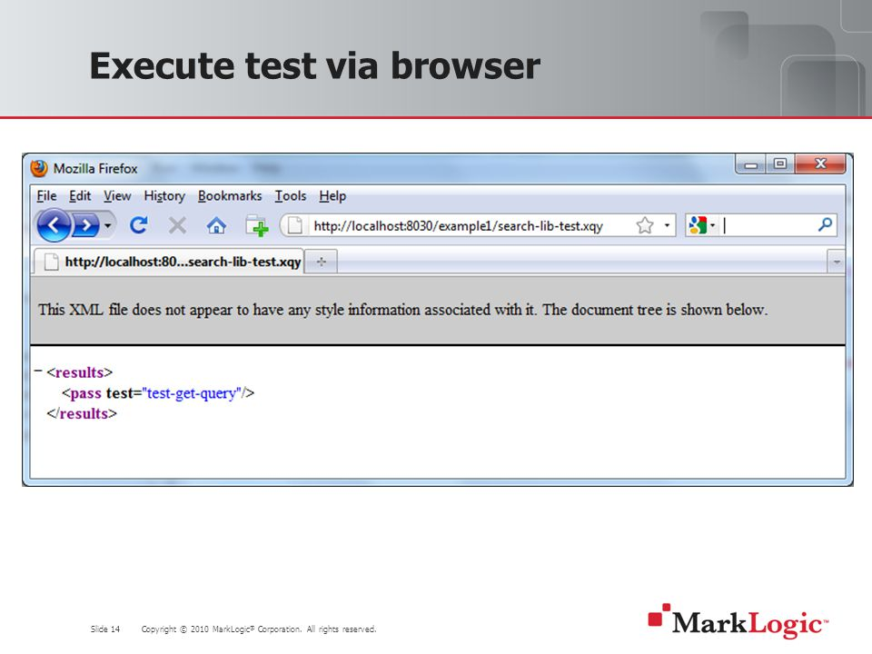 Slide 14 Copyright © 2010 MarkLogic ® Corporation. All rights reserved. Execute test via browser