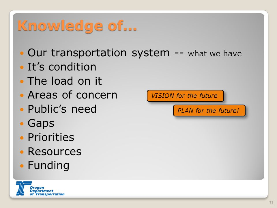 Knowledge of… Our transportation system -- what we have It's condition The load on it Areas of concern Public's need Gaps Priorities Resources Funding 11 VISION for the future PLAN for the future!