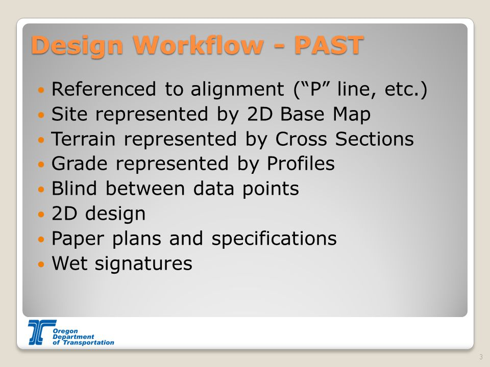 Design Workflow - PAST Referenced to alignment ( P line, etc.) Site represented by 2D Base Map Terrain represented by Cross Sections Grade represented by Profiles Blind between data points 2D design Paper plans and specifications Wet signatures 3