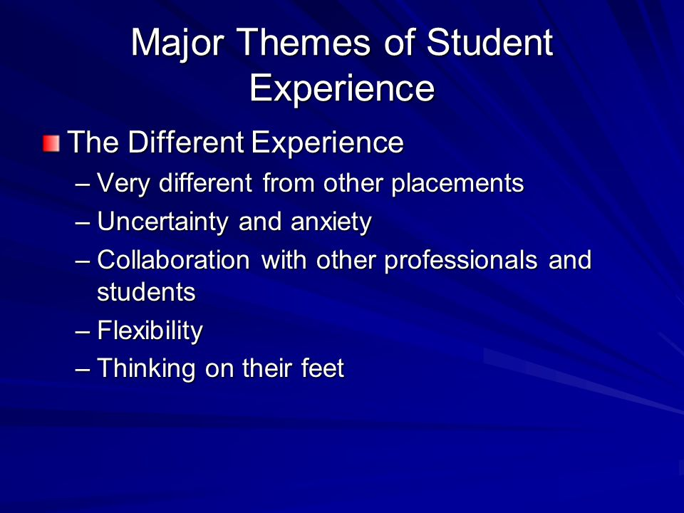 Major Themes of Student Experience The Different Experience –Very different from other placements –Uncertainty and anxiety –Collaboration with other professionals and students –Flexibility –Thinking on their feet