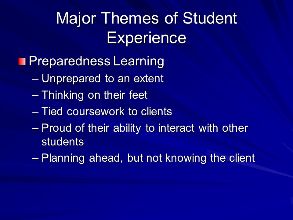 Major Themes of Student Experience Preparedness Learning –Unprepared to an extent –Thinking on their feet –Tied coursework to clients –Proud of their ability to interact with other students –Planning ahead, but not knowing the client