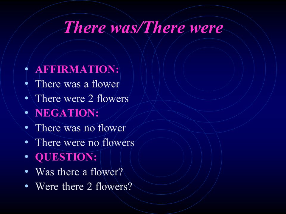 There was/There were AFFIRMATION: There was a flower There were 2 flowers NEGATION: There was no flower There were no flowers QUESTION: Was there a flower.
