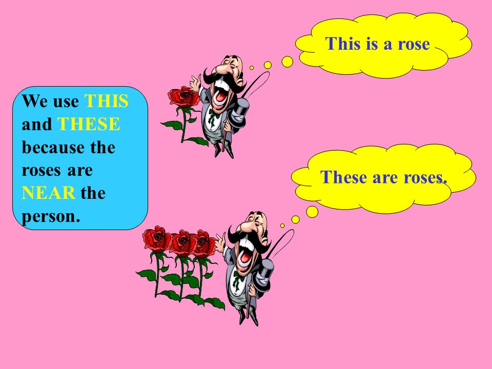 This is a rose These are roses. We use THIS and THESE because the roses are NEAR the person.