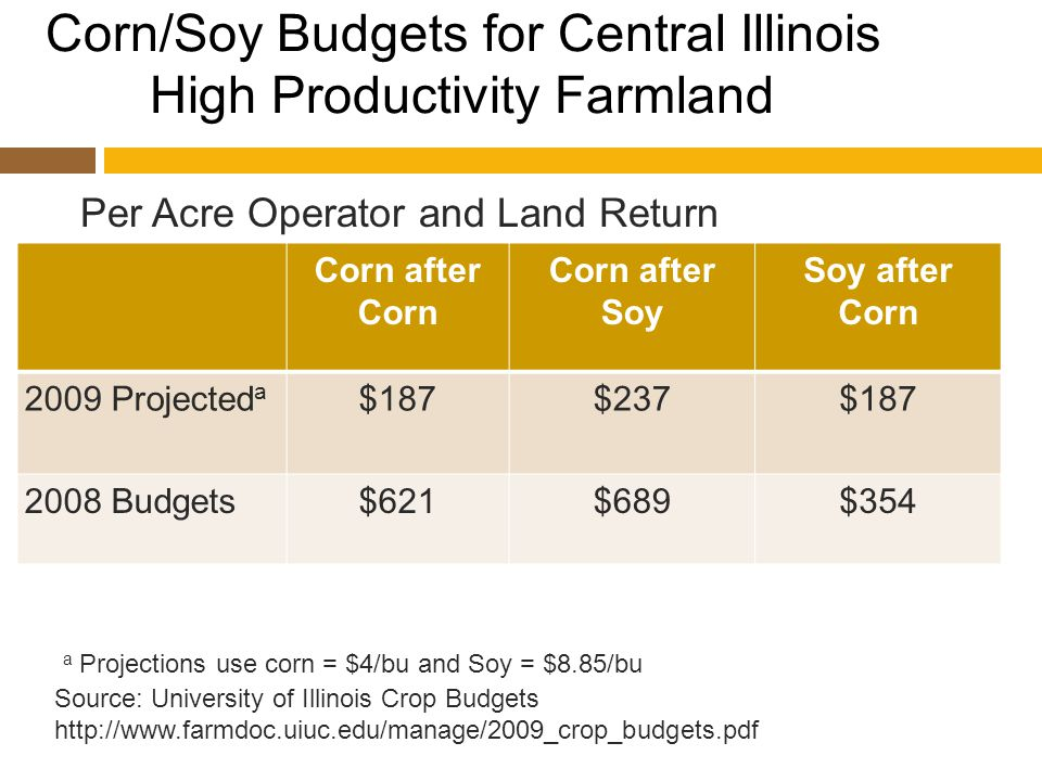 Corn/Soy Budgets for Central Illinois High Productivity Farmland Corn after Corn Corn after Soy Soy after Corn 2009 Projected a $187$237$187 2008 Budgets$621$689$354 Source: University of Illinois Crop Budgets http://www.farmdoc.uiuc.edu/manage/2009_crop_budgets.pdf Per Acre Operator and Land Return a Projections use corn = $4/bu and Soy = $8.85/bu