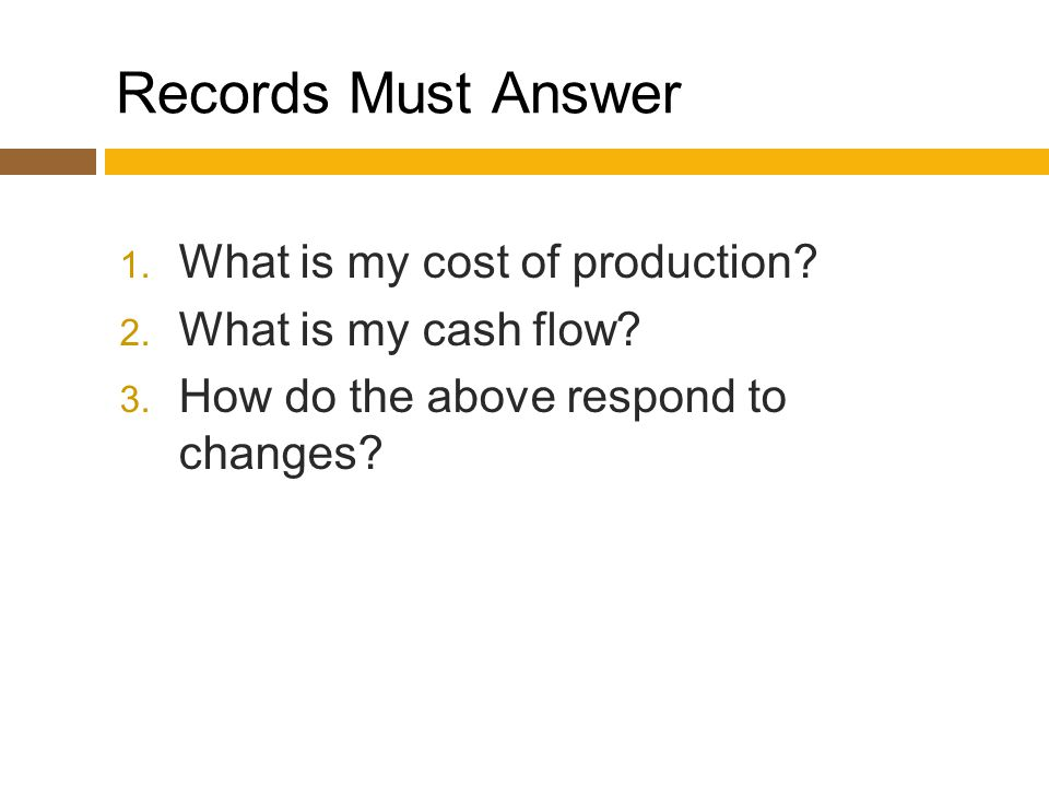 Records Must Answer 1. What is my cost of production.