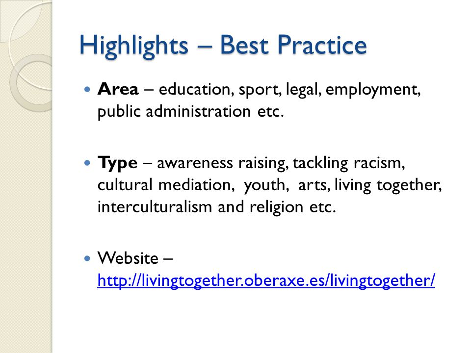 Highlights – Best Practice Area – education, sport, legal, employment, public administration etc.