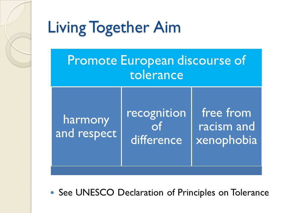 Living Together Aim See UNESCO Declaration of Principles on Tolerance Promote European discourse of tolerance harmony and respect recognition of difference free from racism and xenophobia