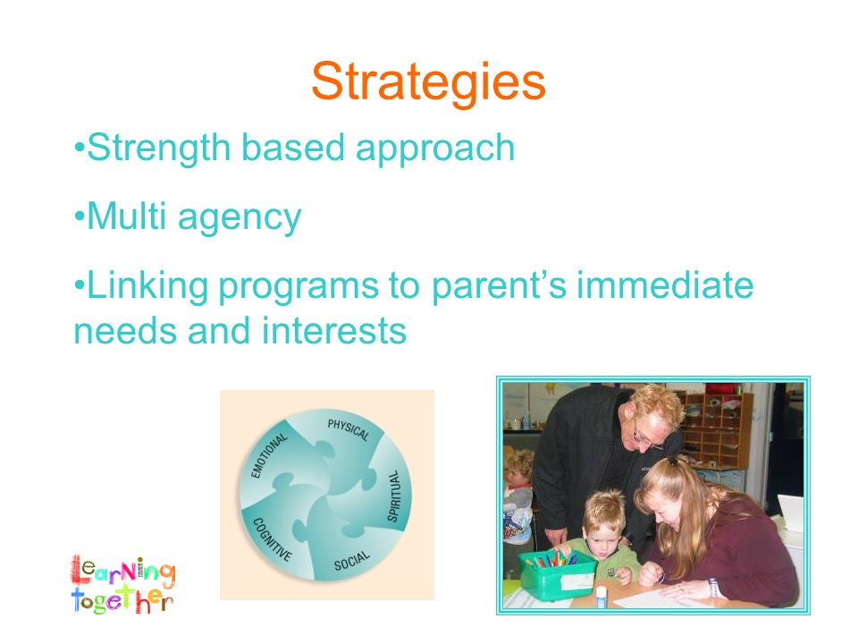 Strategies Strength based approach Multi agency Linking programs to parent's immediate needs and interests