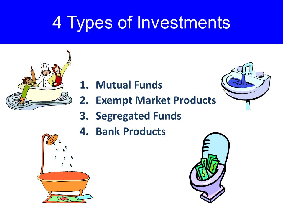 4 Types of Investments 1.Mutual Funds 2.Exempt Market Products 3.Segregated Funds 4.Bank Products