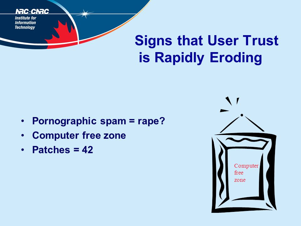 Signs that User Trust is Rapidly Eroding Pornographic spam = rape.