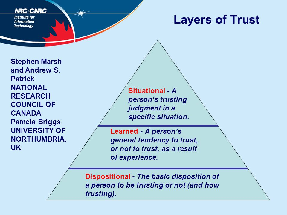 Layers of Trust Dispositional - The basic disposition of a person to be trusting or not (and how trusting).