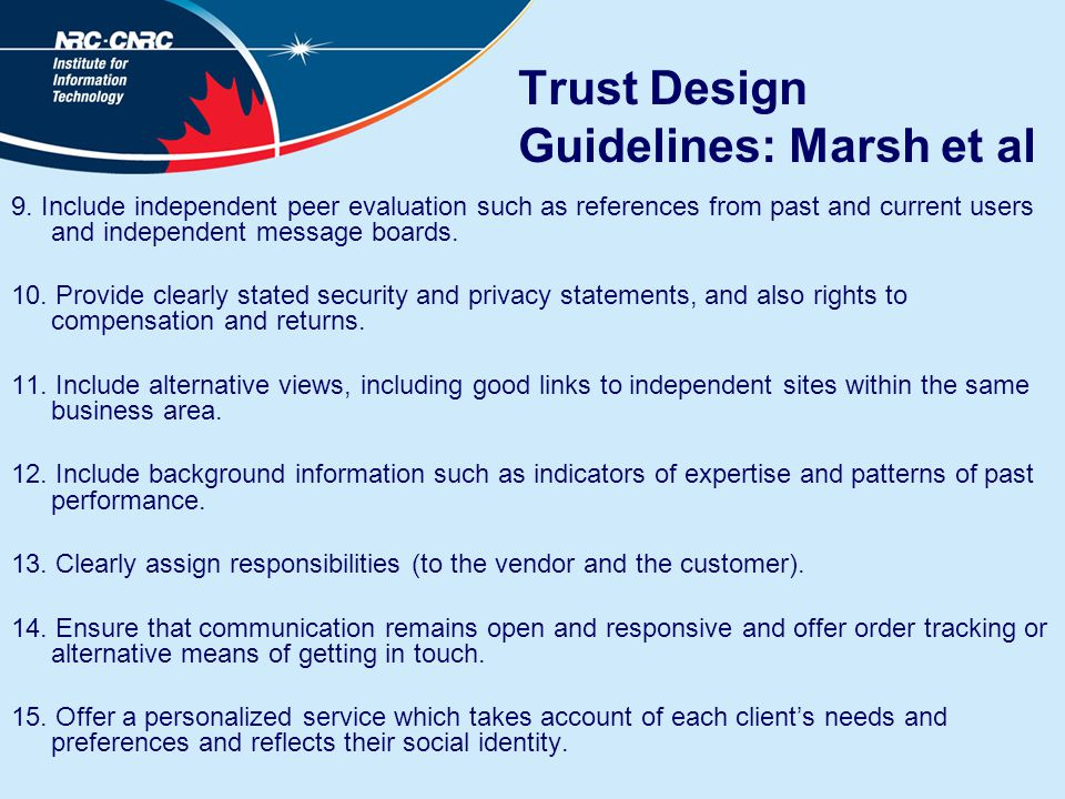 Trust Design Guidelines: Marsh et al 9.
