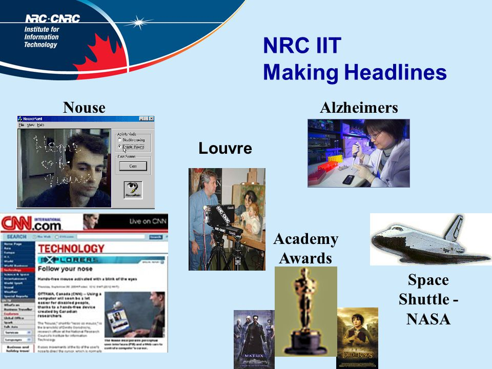 NRC IIT Making Headlines Alzheimers Louvre Academy Awards Space Shuttle - NASA Nouse