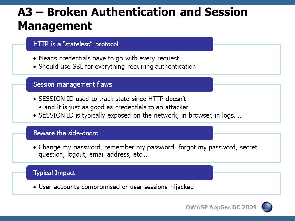 OWASP AppSec DC 2009 A3 – Broken Authentication and Session Management Means credentials have to go with every request Should use SSL for everything requiring authentication HTTP is a stateless protocol SESSION ID used to track state since HTTP doesn't and it is just as good as credentials to an attacker SESSION ID is typically exposed on the network, in browser, in logs, … Session management flaws Change my password, remember my password, forgot my password, secret question, logout, email address, etc… Beware the side-doors User accounts compromised or user sessions hijacked Typical Impact