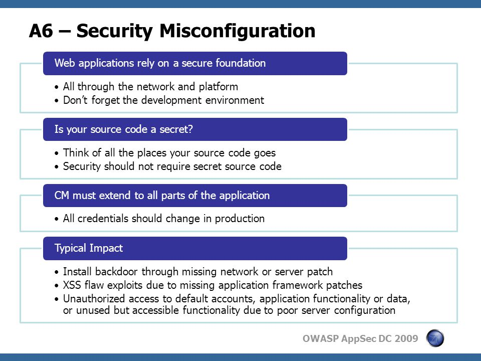 OWASP AppSec DC 2009 A6 – Security Misconfiguration All through the network and platform Don't forget the development environment Web applications rely on a secure foundation Think of all the places your source code goes Security should not require secret source code Is your source code a secret.