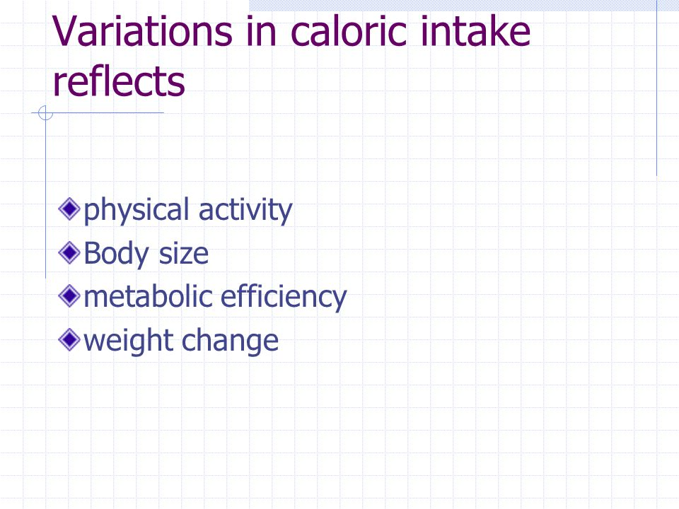 Variations in caloric intake reflects physical activity Body size metabolic efficiency weight change