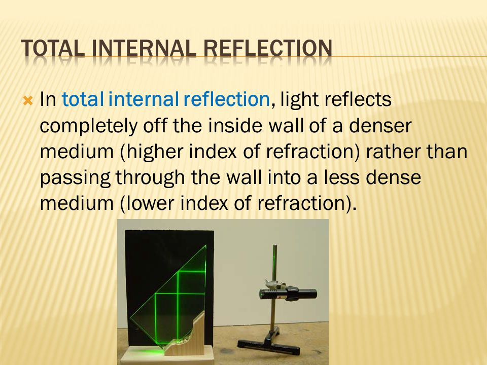  In total internal reflection, light reflects completely off the inside wall of a denser medium (higher index of refraction) rather than passing through the wall into a less dense medium (lower index of refraction).