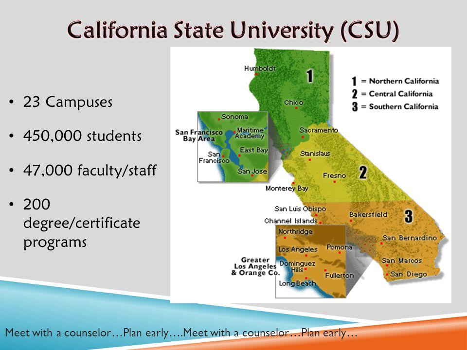University Of California 9 Uc System Map California State University
