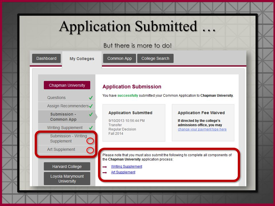 Application Submitted … But there is more to do! Application Submitted … But there is more to do!