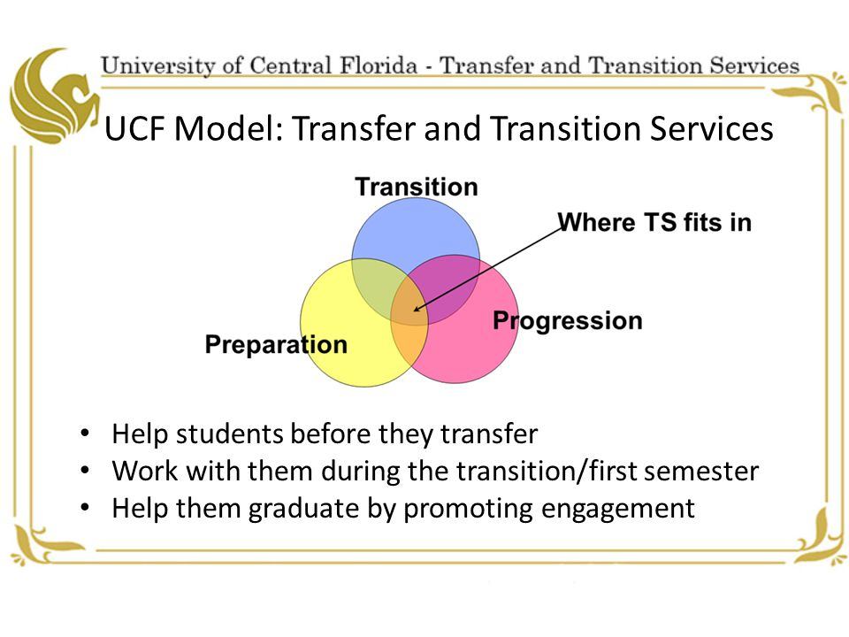 UCF Model: Transfer and Transition Services Help students before they transfer Work with them during the transition/first semester Help them graduate by promoting engagement