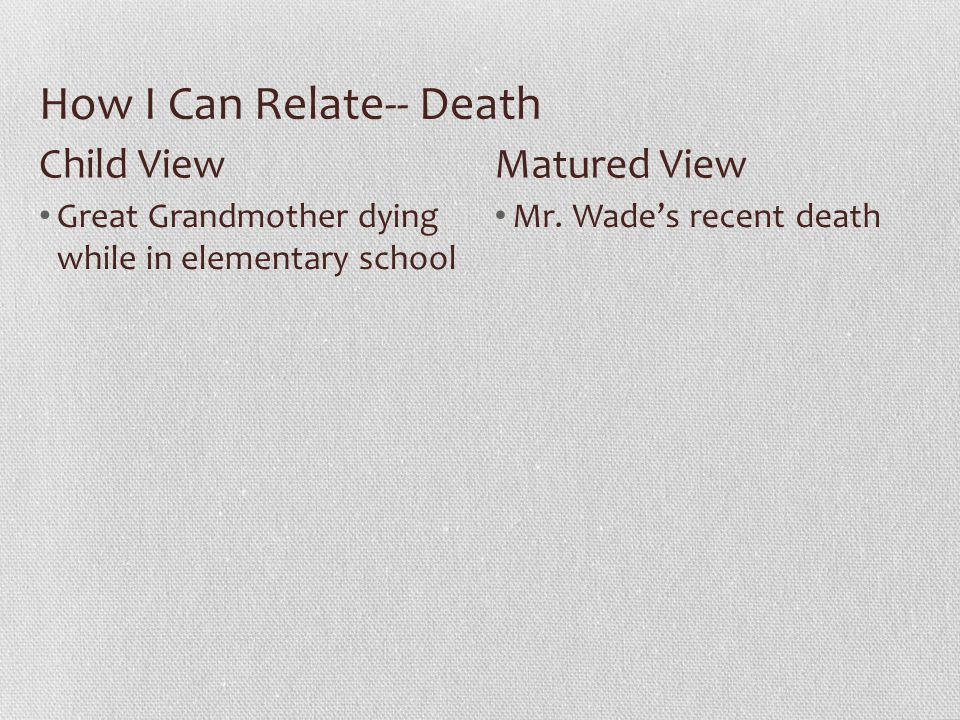 How I Can Relate-- Death Great Grandmother dying while in elementary school Mr.