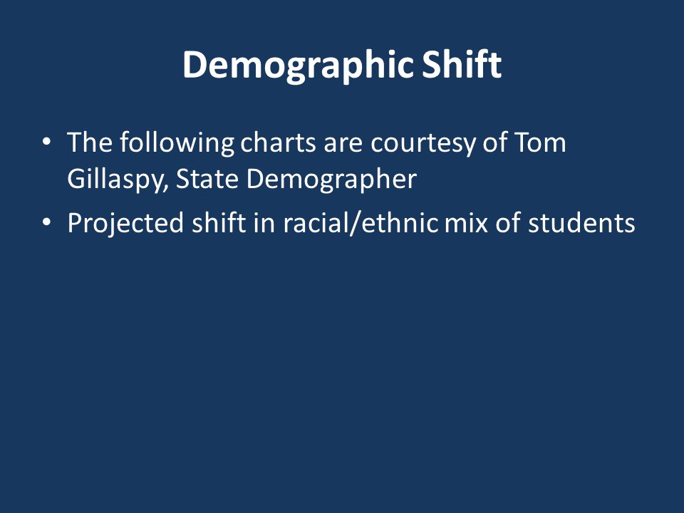 Demographic Shift The following charts are courtesy of Tom Gillaspy, State Demographer Projected shift in racial/ethnic mix of students