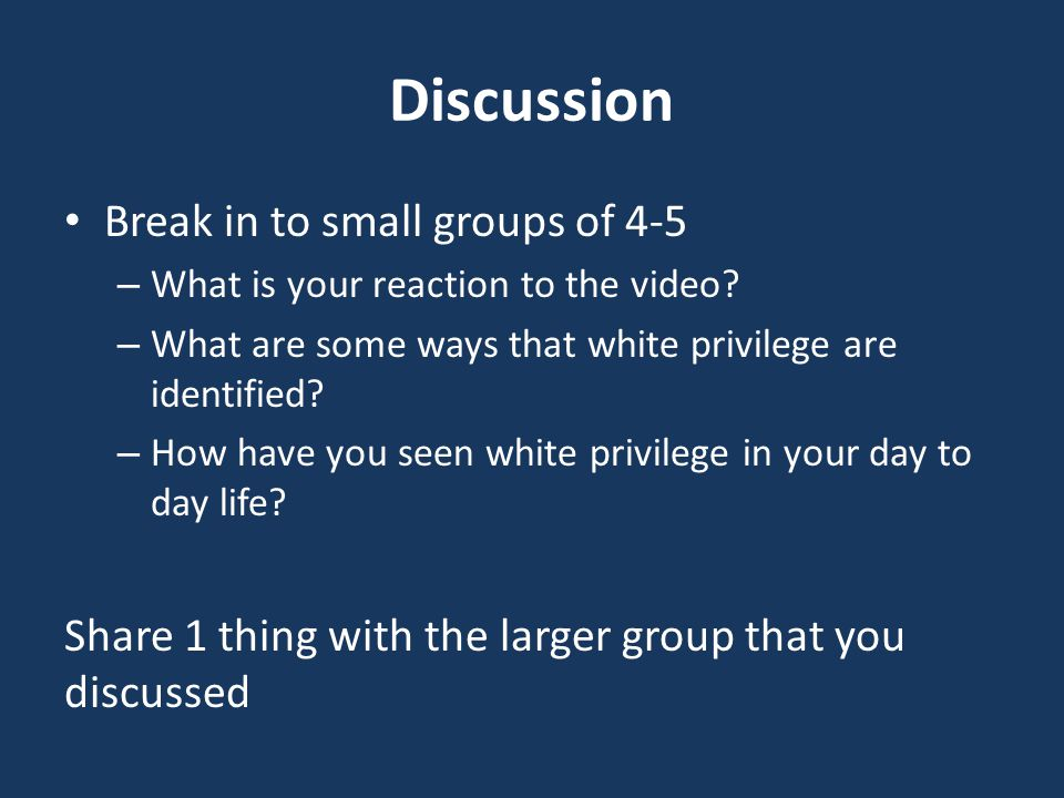 Discussion Break in to small groups of 4-5 – What is your reaction to the video.