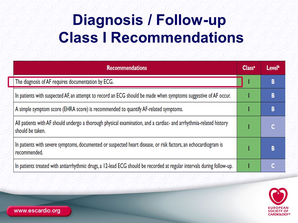 www.escardio.org Diagnosis / Follow-up Class I Recommendations