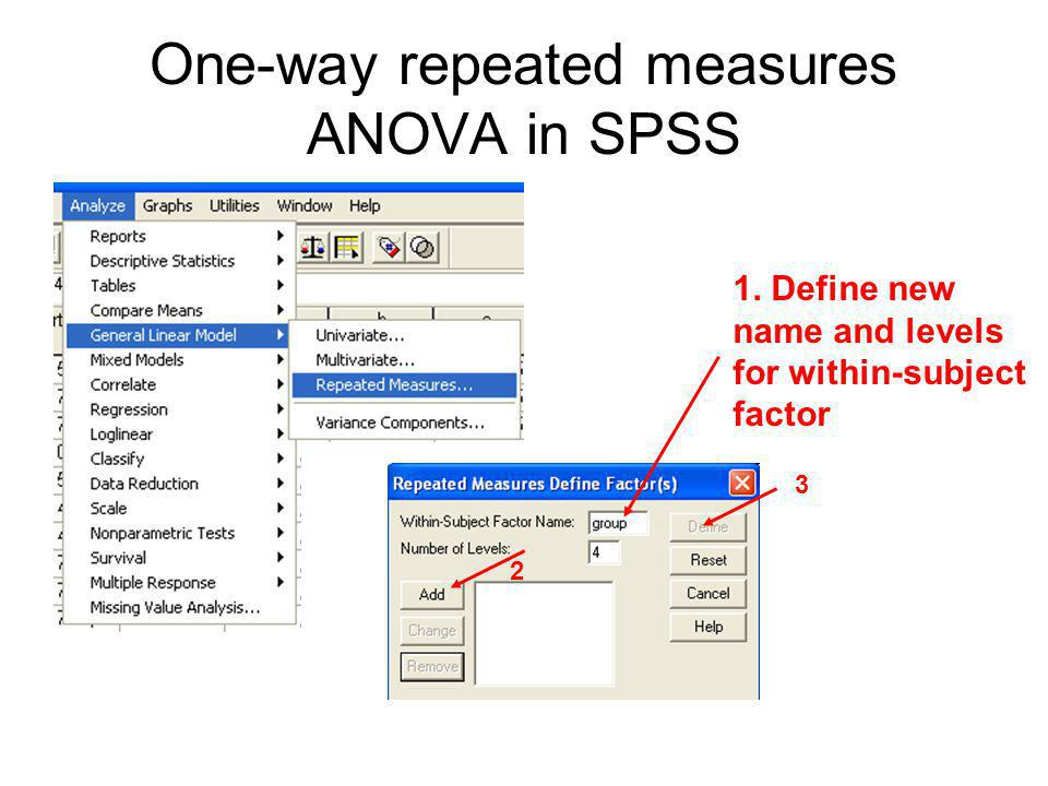 One-way repeated measures ANOVA in SPSS 2 3 1. Define new name and levels for within-subject factor