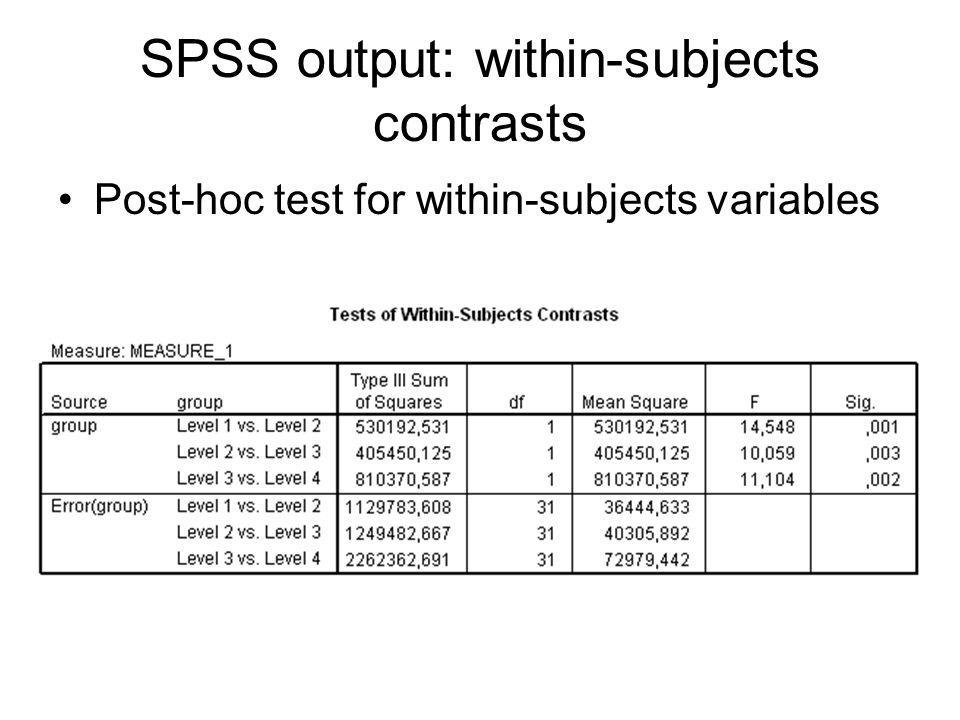 SPSS output: within-subjects contrasts Post-hoc test for within-subjects variables