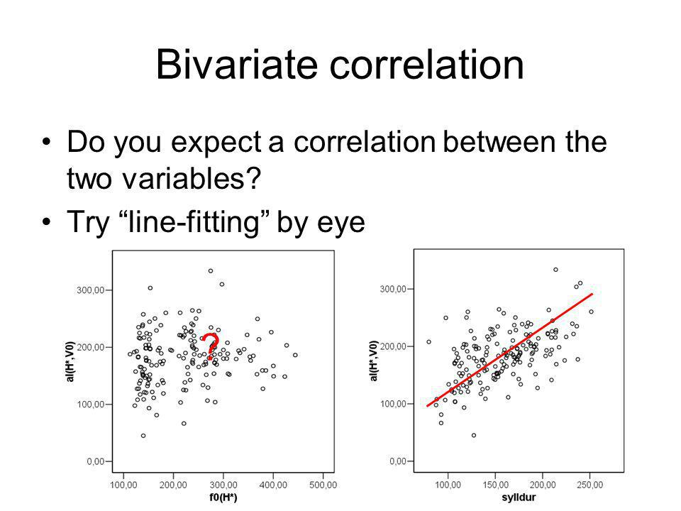 Bivariate correlation Do you expect a correlation between the two variables.
