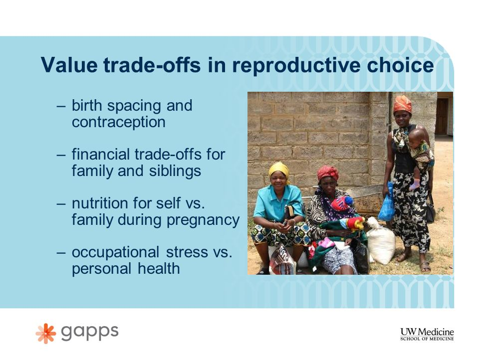 Value trade-offs in reproductive choice –birth spacing and contraception –financial trade-offs for family and siblings –nutrition for self vs.