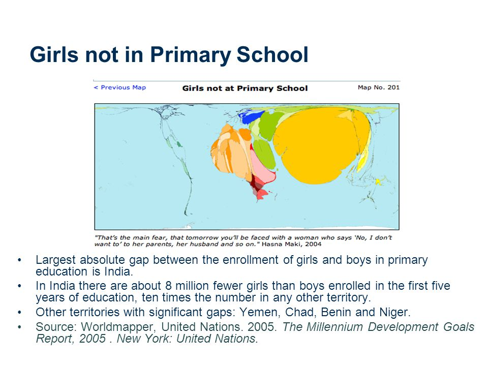 Girls not in Primary School Largest absolute gap between the enrollment of girls and boys in primary education is India.