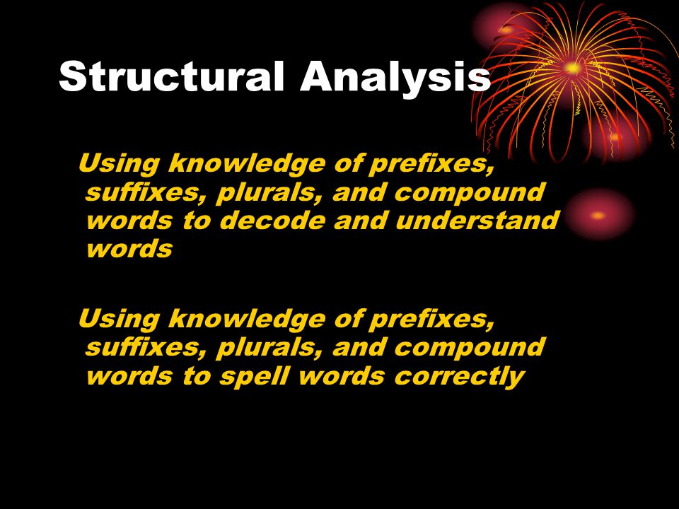 Structural Analysis Using knowledge of prefixes, suffixes, plurals, and compound words to decode and understand words Using knowledge of prefixes, suffixes, plurals, and compound words to spell words correctly