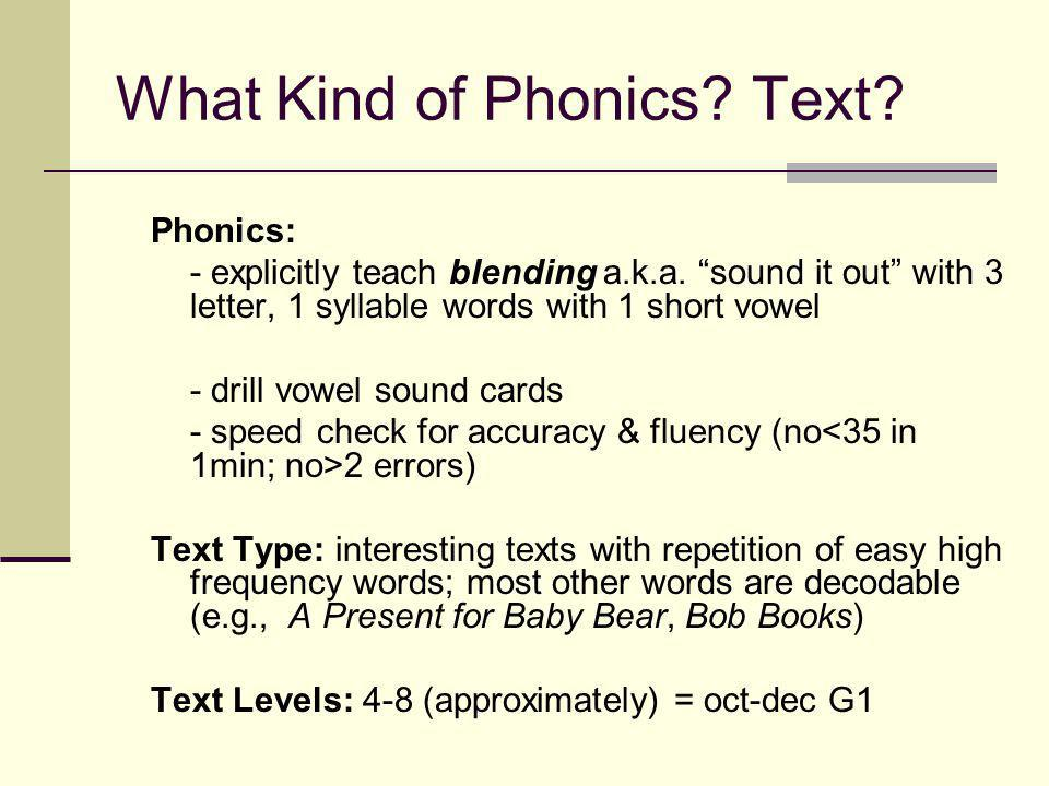 What Kind of Phonics. Text. Phonics: - explicitly teach blending a.k.a.