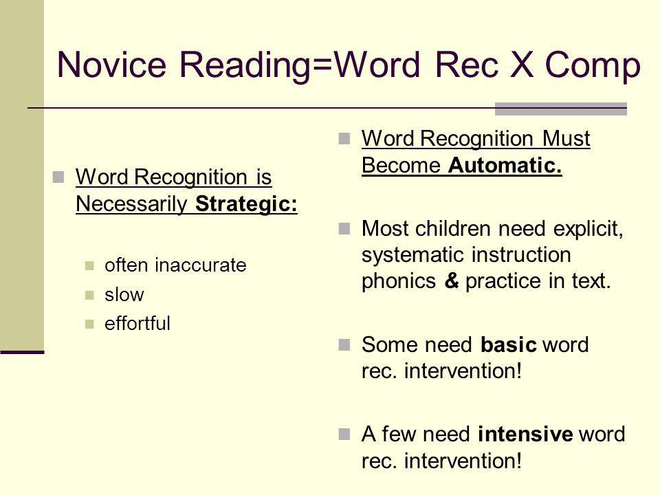 Novice Reading=Word Rec X Comp Word Recognition is Necessarily Strategic: often inaccurate slow effortful Word Recognition Must Become Automatic.