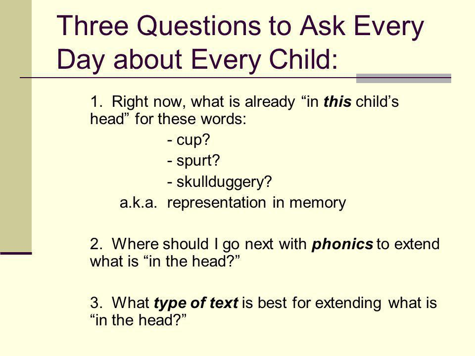 Three Questions to Ask Every Day about Every Child: 1.