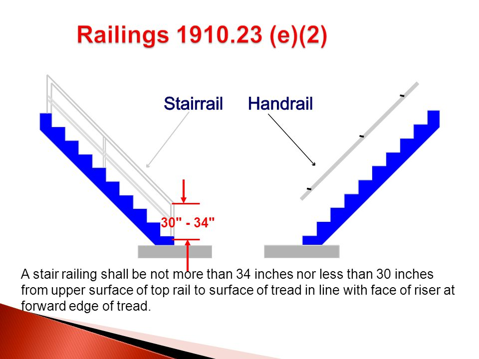 A stair railing shall be not more than 34 inches nor less than 30 inches from upper surface of top rail to surface of tread in line with face of riser at forward edge of tread.