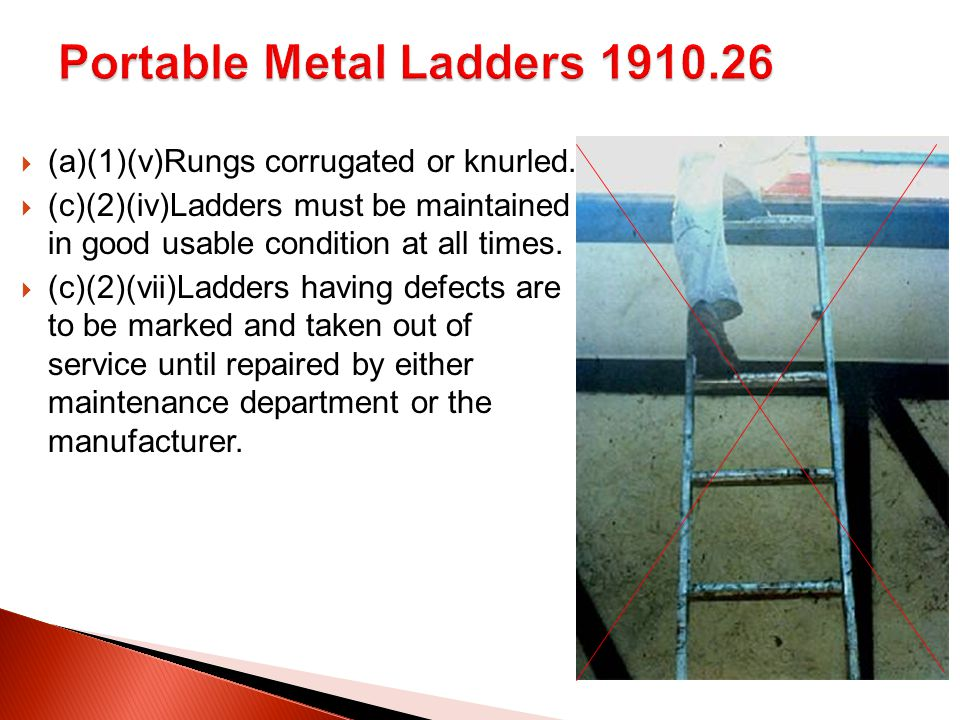  (a)(1)(v)Rungs corrugated or knurled.