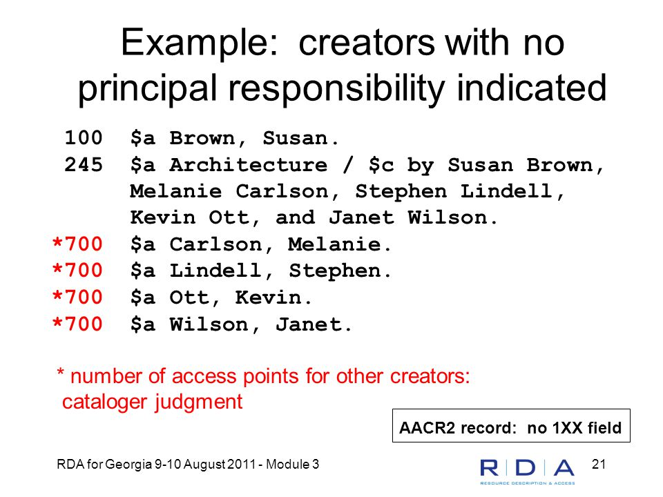 RDA for Georgia 9-10 August 2011 - Module 321 Example: creators with no principal responsibility indicated 100 $a Brown, Susan.