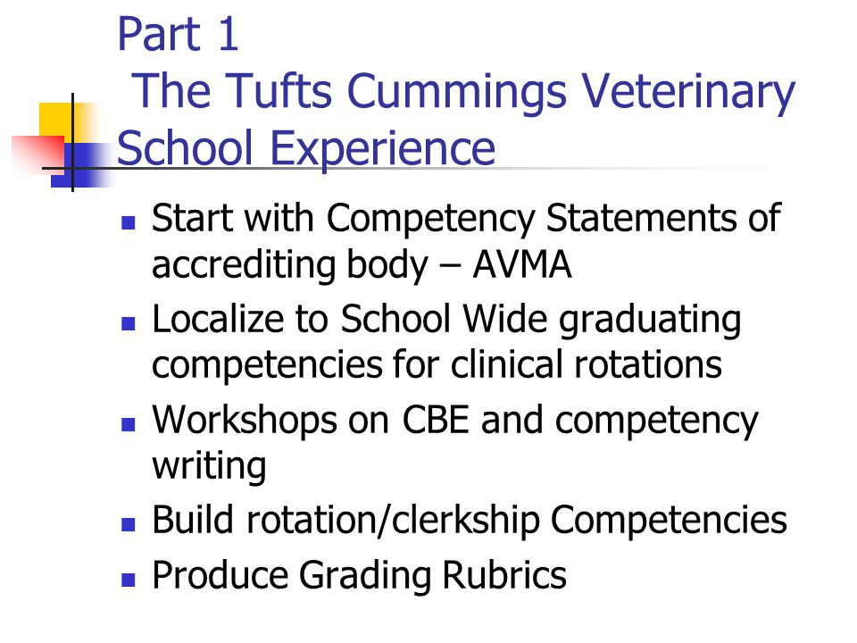 Part 1 The Tufts Cummings Veterinary School Experience Start with Competency Statements of accrediting body – AVMA Localize to School Wide graduating competencies for clinical rotations Workshops on CBE and competency writing Build rotation/clerkship Competencies Produce Grading Rubrics
