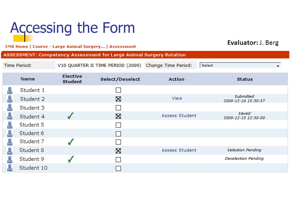 Accessing the Form Evaluator: J. Berg