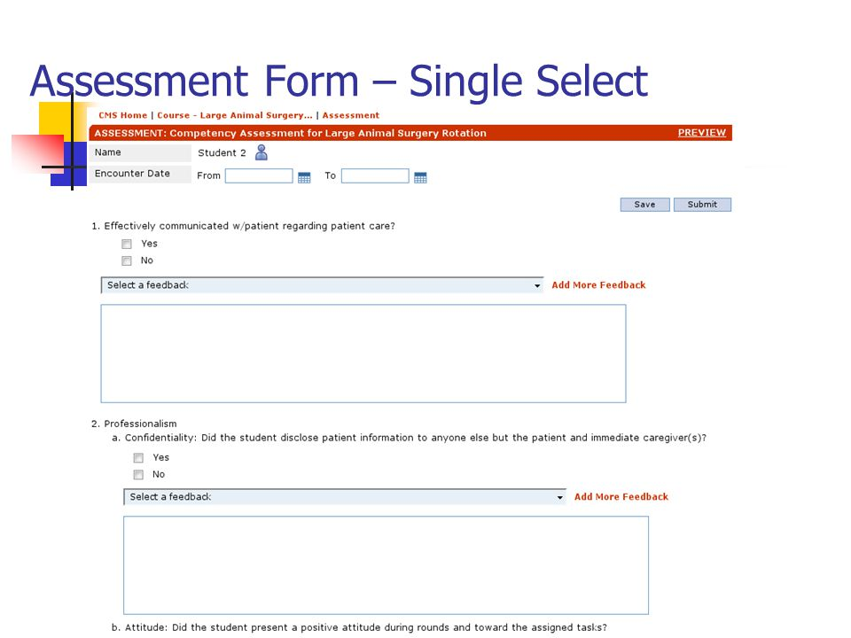 Assessment Form – Single Select