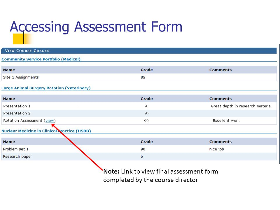 Accessing Assessment Form Note: Link to view final assessment form completed by the course director