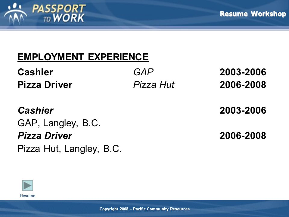Resume Workshop Copyright 2008 – Pacific Community Resources EMPLOYMENT EXPERIENCE CashierGAP2003-2006 Pizza DriverPizza Hut2006-2008 Cashier2003-2006 GAP, Langley, B.C.